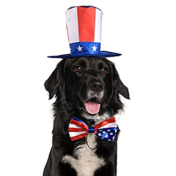 Vehomy Pet Dog Independence Day Costume - Uncle Sam Dog Top Hat and American Flag Dog Bow tie Collar 4th July Pet Hat and Collar Costume Supplies for Dogs Cats Puppy Kitten  2Pcs