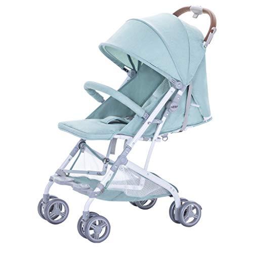 BLWX - Poussette Ultra Léger Portable Pliable Peut S'asseoir Inclinable Parapluie Enfant Bébé Voiture Chariot Peut Être sur L'avion Poussette (Couleur : Green)