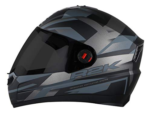 Steelbird SBA-1 R2K Full Face Graphics Helmet in Matt Finish with Smoke...