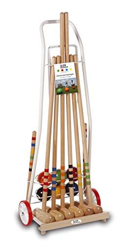 GICO Qualitäts - Krocketwagen Family aus Metall/Krocket/Croquet für 6 Spieler Erwachsenenlänge. Outdoor/Garten Spielspaß Qualitätsware aus Massivholz-Made in EU-3136