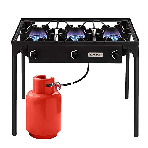 ROVSUN 3 Burner High Pressure Outdoor Camping Burner, Propane Gas Stove with CSA Listed Regulator, Picnic Cooker Perfect for Home Brewing Maple Syrup Patio Turkey Frying Canning