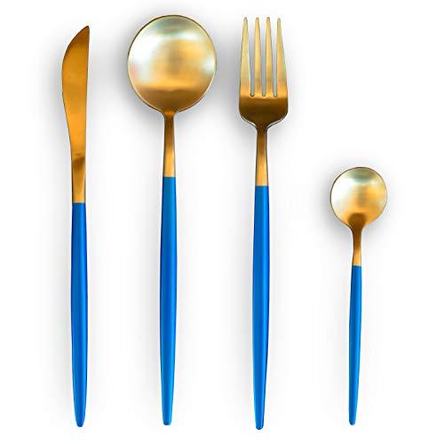 EME Mobiliario Cuberteria Deluxe Juego de 24 Piezas Fabricado en Acero Inoxidable 18/10 en Color y Azul. Incluye: 6 Cuchillo de Mesa, 6 Cuchara de Mesa, 6 Tenedor de Mesa y 6 Cuchara de café Postre.