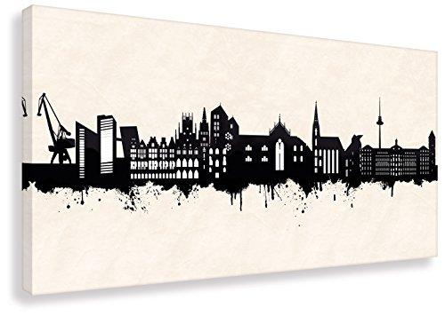 Kunstbruder Leinwandbild - Münster Skyline SW (div. Größen) Zimmerbild Street Art Kunstdruck Wandbild Loungebild (40x80cm)