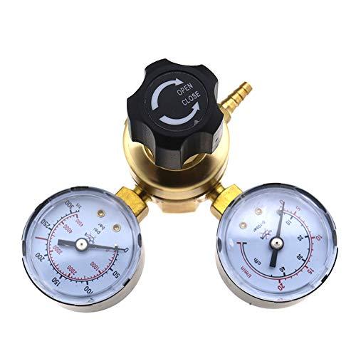 Ototec - Reductor de botellas de gas de CO2, mezcla Argón, soldadura Mig Tig 0-315 bar, reductor de presión, doble 2 entrada manométrica a un piso L 21,8 x 1 / 14 pulgadas
