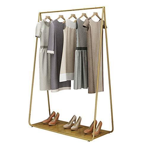 AFCITY - Perchero de ropa con estante inferior para ropa (color: dorado, tamaño: 120 x 40 x 160 cm)