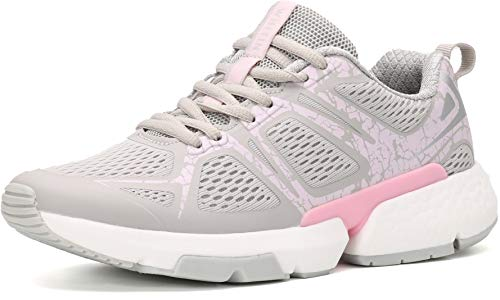 WHITIN Running Tennis Shoes for Women Grey Size 8.5 with Arch Support Cushion Stylish Comfort Stability Run Cross Training Walking Athletic Sport Tenis Sneakers for Ladies