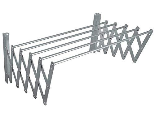HOW LUCKY Tendedero Extensible Plegable metalico de Pared en Aluminio 80cm