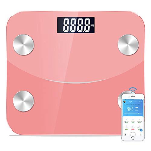 CFFDDE Bluetooth-weegschaal, ondersteuning voor meertalige mobiele app, zeer nauwkeurige sensoren, bewaking van de lichaamssamenstelling, voor fitnesstracker ter gewichtsreductie USBcharging roze