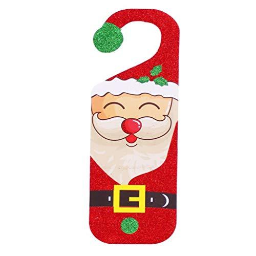 VALICLUD 2 Unids Perilla de La Puerta de Navidad Perilla Santa Muñeco de Nieve Decoración de La Puerta Interior Perilla Colgante Adorno Colgante