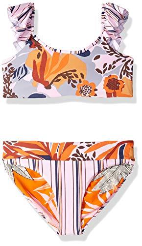 Maaji Girls' Little Flutter Sleeve Bikini Swimsuit Set, Coco cay Pink Stripe Floral, 04