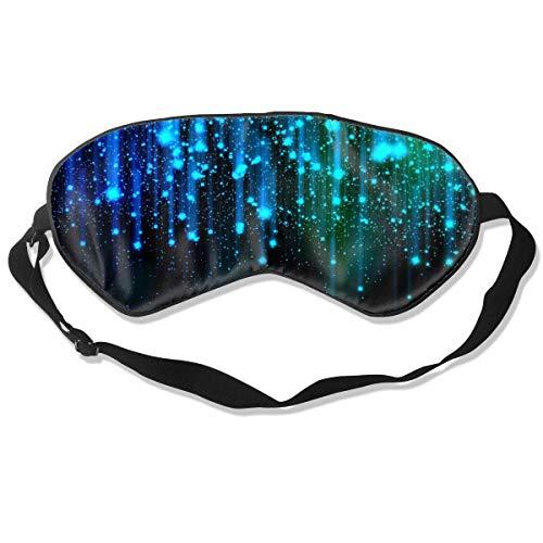 Verstelbare riem zijde oog masker, voor volwassenen kinderen tieners comfortabele zachte slaap masker, slapen reizen Shift werk Naps nacht oogschaduw blinddoek, zwart en blauw neon lichten oogje