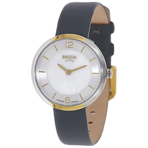 Boccia Damen Digital Quarz Uhr mit Leder Armband 3266-04