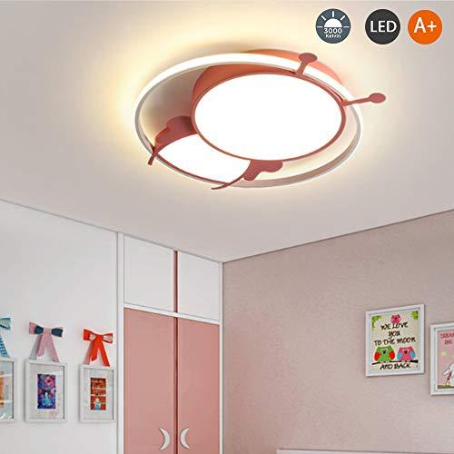 Led-plafondlamp voor kinderen, ijzer, lampenkap van acryl, voor slaapkamer, kinderkamer, studio, verlichting, woonkamer, badkamer, eetkamer, lamp, binnendecoratie 47cm warm PINK