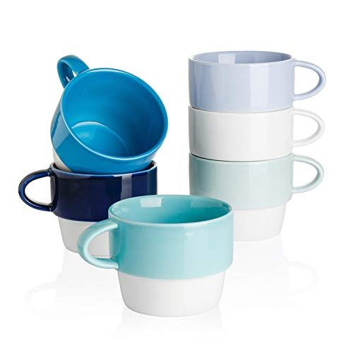 Sweese 411.003 Porcelain Cappuccino Cups - Stackable Coffee Cups - 6 Ounce for Specialty Coffee Drinks, Cappuccino, Mocha and Tea - Set of 6, Cool Assorted Colors