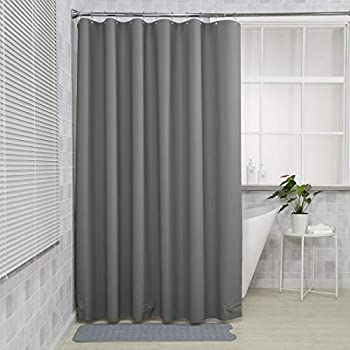 AmazerBath Plastic Shower Curtain 72 x 72 Inches EVA 8G Shower Curtain with Clear Stones and 12 Grommet Holes Waterproof Thick Bathroom Plastic Shower Curtains-Dark Grey