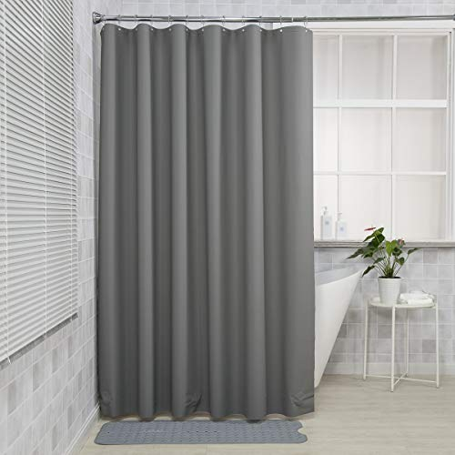 AmazerBath Plastic Shower Curtain, 72 x 72 Inches EVA 8G Shower Curtain with Clear Stones and 12 Grommet Holes, Waterproof Thick Bathroom Plastic Shower Curtains-Dark Grey