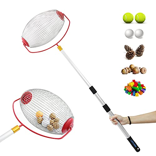 LIEKUMM Walnut Picker, Garden Nut Rolling Picker, Nuts Collecting Tool, 17.32 -42.52  Adjustable Length, Light Housework Hand Tool Collector, for Pecans, Chestnuts, Fruits and Golf Balls, Red
