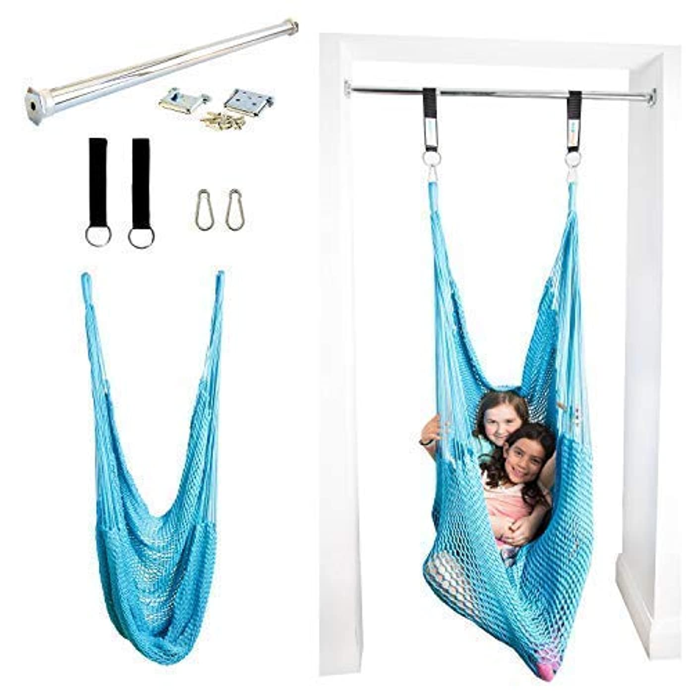 DreamGYM Net Therapy Indoor Swing with Doorway Support Bar | Sensory Swing for Adults and Children | Blue
