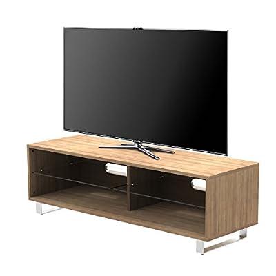 "1home TV Stand Cabinet Gloss Shelf Glass upto 60"" Flat Screen LED LCD TVs Oak Walnut"