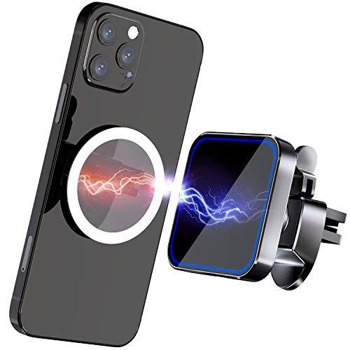 Gahwa Cargador Inalambrico Coche Magnético con Pegatina Magnética, Soporte Movil Wireless Car Charger con Qi 15W Carga Rápida para iPhone 12/12 Pro/12 Pro Max/12 Mini/11/Galaxy S20 fe/S10/Note 20+