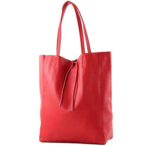 modamoda de - T163 - Ital. Shopper mit Innentasche aus Leder, Farbe:Rot