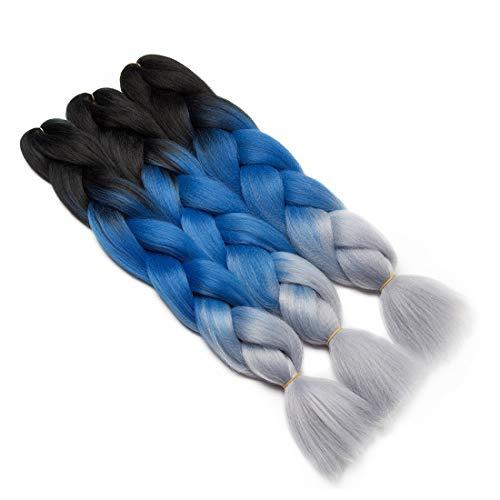 3Pcs Extensions de cheveux à tresser 60cm Extension Cheveux Tresse Braiding Hair Tressage synthétique Braids Postiche Noir à bleu foncé à gris argenté