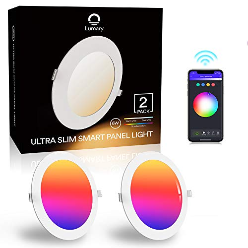 Downlight Led Techo Inteligente Ultrafina 6W 480LM, Lumary LED Empotrable Techo con Caja de Conexiones Controlada por APP, Funciona con Alexa, Google Home(6W-2PCS)