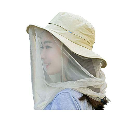 Racheljp Mosquito Net Hat, Fishing Gardening Hat with Netting Mesh Protection from Insects Bugs Khaki