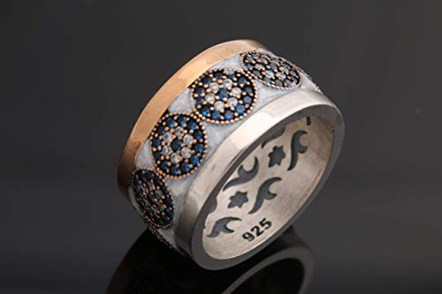 Nazar ! Turkish Handmade Jewelry White Enamel Evil Eye Sapphire Topaz Sterling Silver Ring with multiple size options