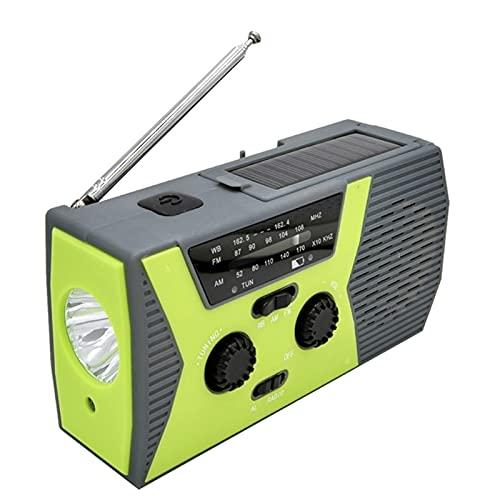 Radio meteorológica, emergencia solar de manivela de mano portátil AM/FM linterna LED para el hogar al aire libre 2000mah banco de energía móvil, cargador USB para teléfono inteligente (verde)