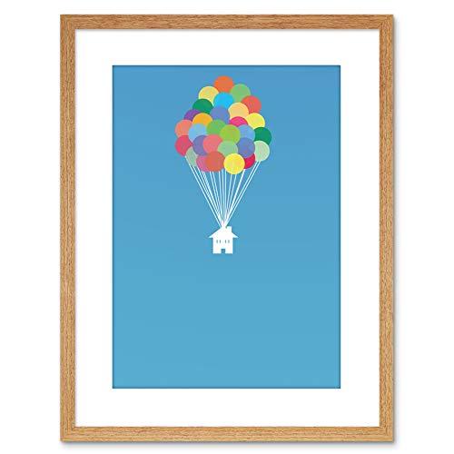 Wee Blue Coo schilderij DIGITAL huis vullen ballonnen 9x7 FRAMED ART PRINT F97X12553