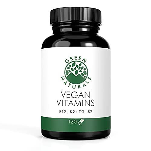 Vegan Vitamins (120 Kapseln) - B12+K2+D3+B2 - 100% Vegan - 0% Zusätze - dt. Herstellung - Vorrat für 4 Monate