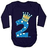 Hariz - Body de manga larga para bebé, diseño de corona de príncipe 2 cumpleaños infantil, color azul oscuro 86 – 92