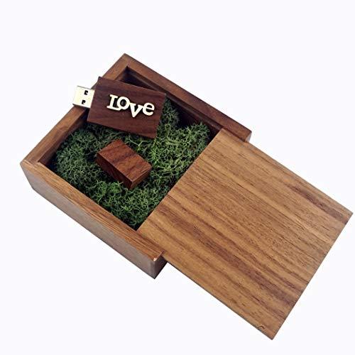 LUCKCRAZY Chiavetta USB 2.0 da 16 GB, in legno di noce, regalo di compleanno, con confezione regalo