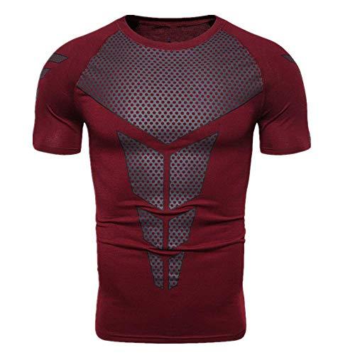 NOBRAND Herren Ganzkörper-T-Shirt, Triangeldruck, kurzärmelig, elastisch Gr. XXL, claret