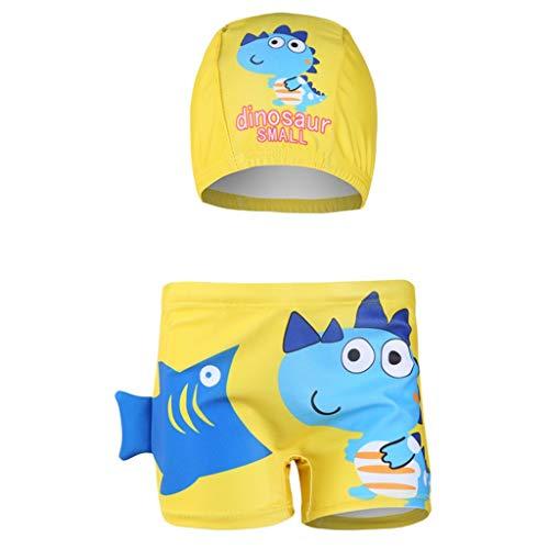 wuayi  Jungen Badeanzug, Jungen Cartoon Dinosaur Fisch Print Flachwinkel Schwimmshorts + Hut 1-8 Jahre