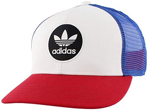 adidas Men's Originals Circle Mesh Snapback Cap, White/Collegiate Royal Blue/Scarlet, One Size
