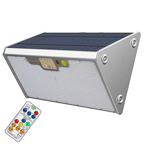 Éclairage Sécurité avec Détecteur Mouvement, Plein Air Super Brillant 76 LED Lumière Du Jour Blanc Imperméable avec Télécommande 5 Modes pour Jardin Plate Forme Passerelle Éclairage 20000mAh