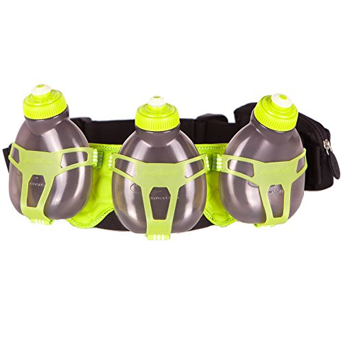 FuelBelt H3O Helium 3 Bottle Belt, Black/Lagoon Green, One Size