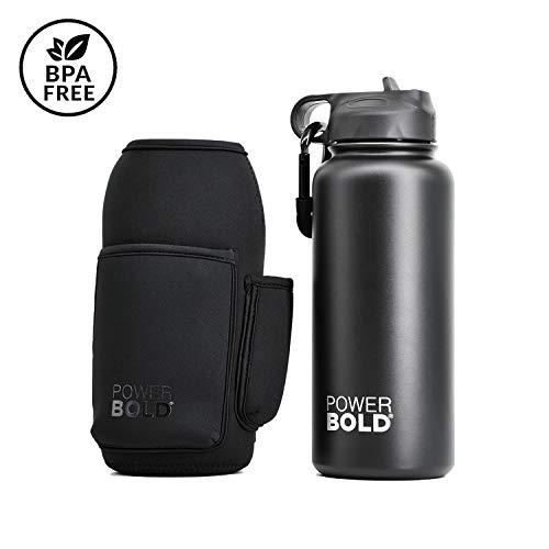 POWERBOLD Premium 2in1 Thermosflasche mit Tasche fürs Handy I Design Neoprenhülle 1l, 950ml hochwertige Edelstahl Trinkflasche I BPA frei I Sportflasche ideal für Fitness & Sport I auslaufsicher