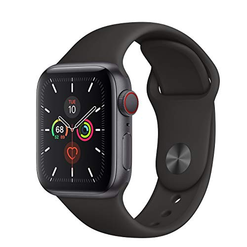 Apple Watch Series 5 GPS + Cellular - 40mm Space Gray Aluminum Case with Black Sport Band (Renewed) (Space Gray Aluminum Case With Black Sport Band)