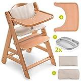 Hauck Hochstuhl Set Alpha Plus Move inkl. Essbrett, Sitzkissen und 2x Babyteller Silikon - mitwachsender Holz Babystuhl/Kinderhochstuhl mit Rollen, Gurt und Tisch - Natur Beige
