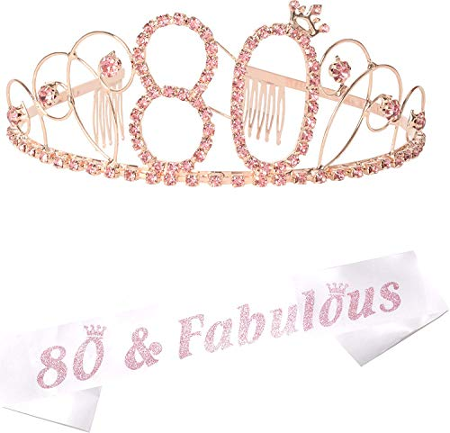 80th Birthday Gifts for Women, 80th Birthday Tiara and Sash, Happy 80th Birthday Party Supplies, 80th Glitter Satin Sash and Crystal Crown for 80th Birthday Party Supplies and Decorations