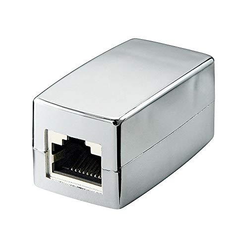 Goobay 68161 RJ45 Crossover Modularkupplung / Verbinder, CAT 5e, metallisiertes Gehäuse, 2x RJ45-Buchse (8P8C), silber