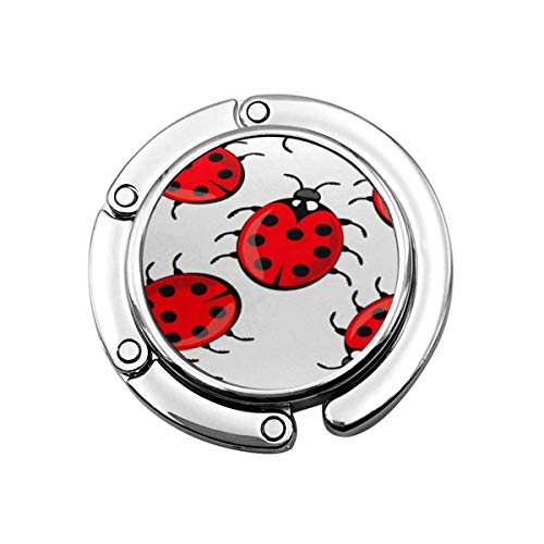 Faltbare Handtasche Kleiderbügel Geldbörse Haken, Bunte Tier niedlichen Marienkäfer auf Marienkäfer rote Käfer Sieben Punkte Sein Flügel schöne Antenne