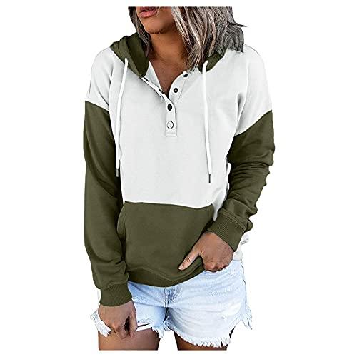 Sudaderas con capucha para mujer, color blanco, bloqueo de botones, sudadera con cordón, moda casual de manga larga, verde, S