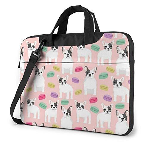 15.6 Inch Cute Bulldog and Macaron Pink Laptop Messenger Bag Briefcase Notebook Bussiness Handbag