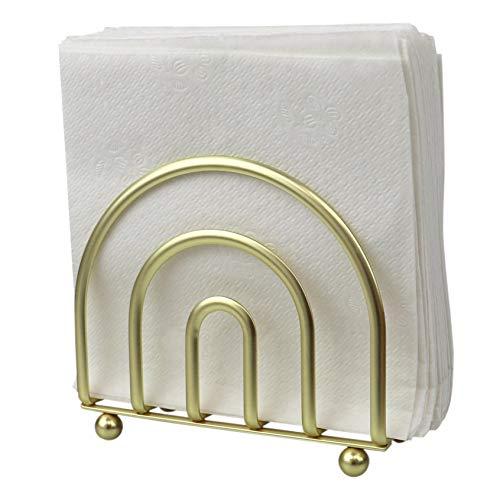 Home Basics Flat Wire Steel Free Standing Upright Non-Skid Modern, Gold Paper Napkin Holder/Freestanding Tissue Dispenser, 5