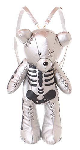 LB-132-2 Silber XXL Kunstleder Zombie Skelett Teddy Bär Tasche Rucksack Lolita Pastel Goth Punk Gothic Kawaii