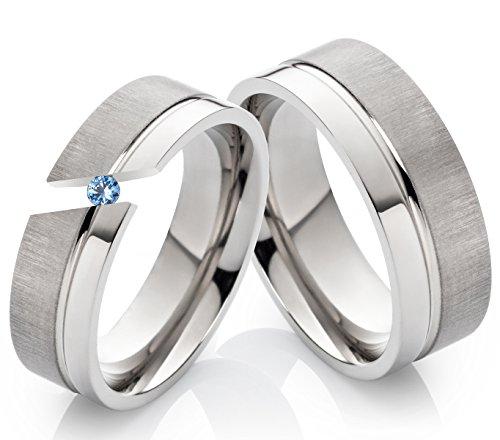 frencheis Eheringe Verlobungsringe Trauringe aus Titan 6mm und 8mm mit echtem Topas und Ringe Gravur TD2T